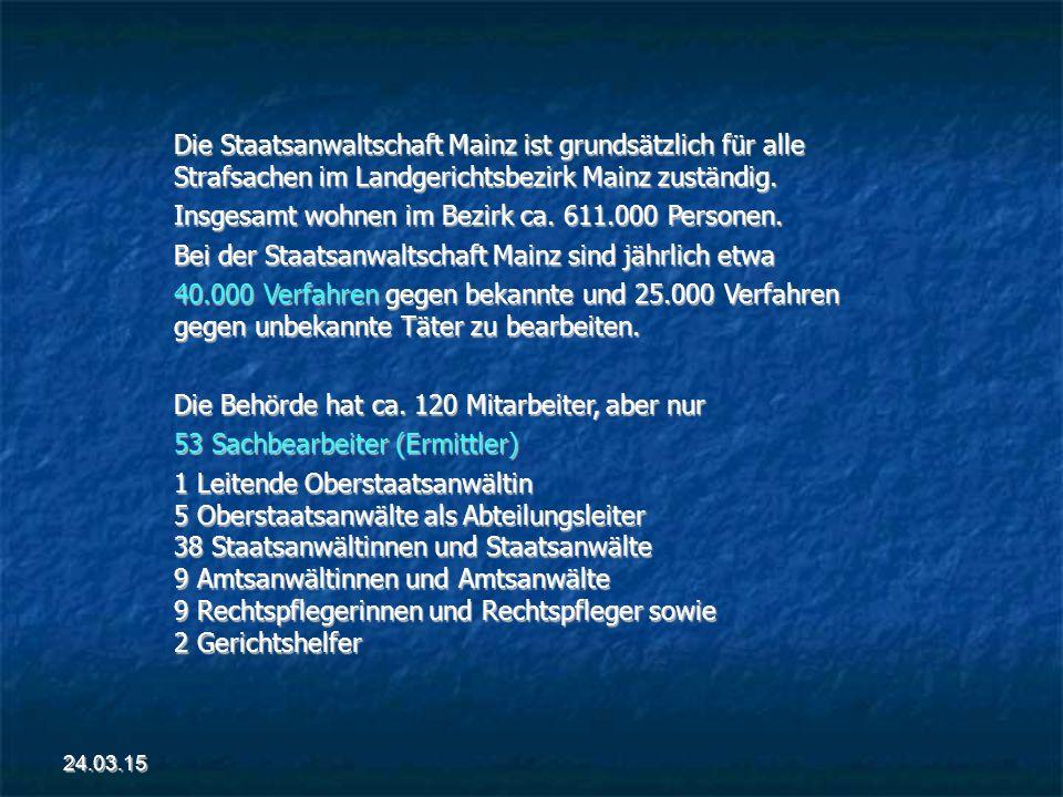 Die Staatsanwaltschaft Mainz ist grundsätzlich für alle Strafsachen im Landgerichtsbezirk Mainz zuständig.