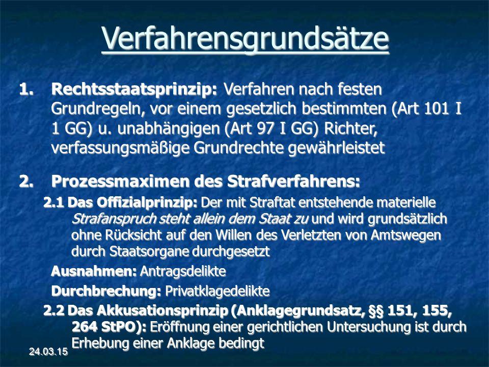 Verfahrensgrundsätze 1.Rechtsstaatsprinzip: Verfahren nach festen Grundregeln, vor einem gesetzlich bestimmten (Art 101 I 1 GG) u. unabhängigen (Art 9