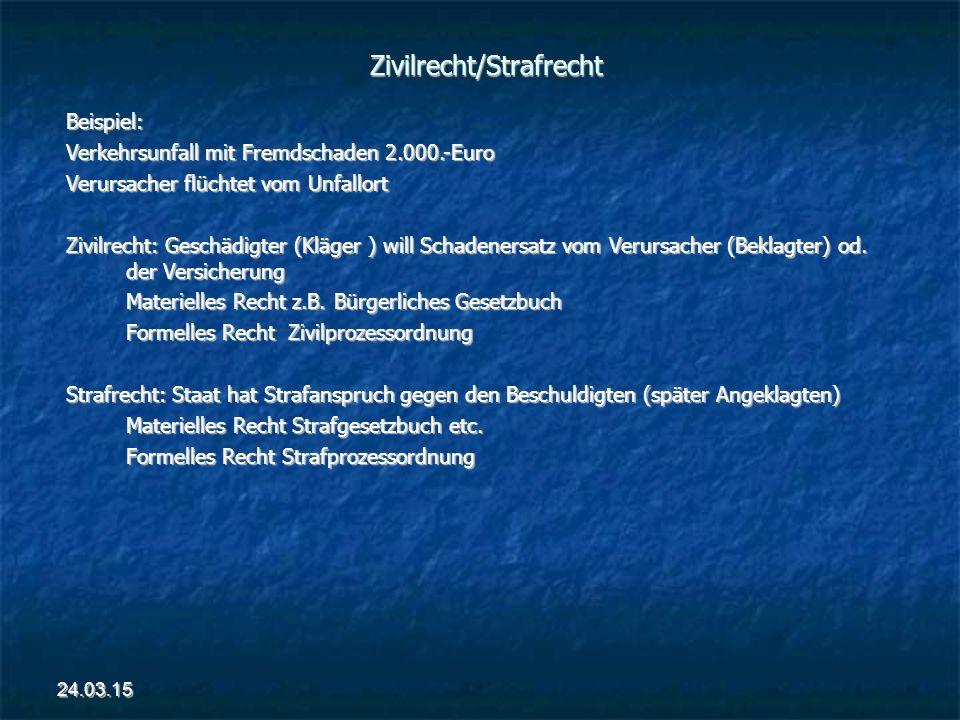 Zivilrecht/Strafrecht Beispiel: Verkehrsunfall mit Fremdschaden 2.000.-Euro Verursacher flüchtet vom Unfallort Zivilrecht: Geschädigter (Kläger ) will Schadenersatz vom Verursacher (Beklagter) od.
