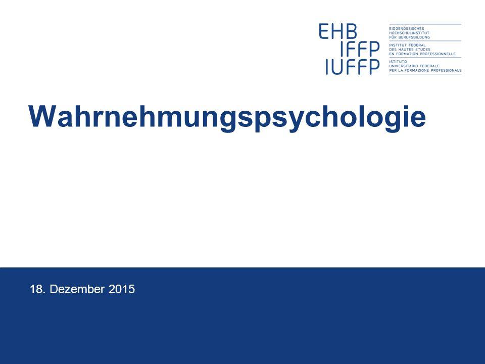 Wahrnehmungspsychologie 18. Dezember 2015