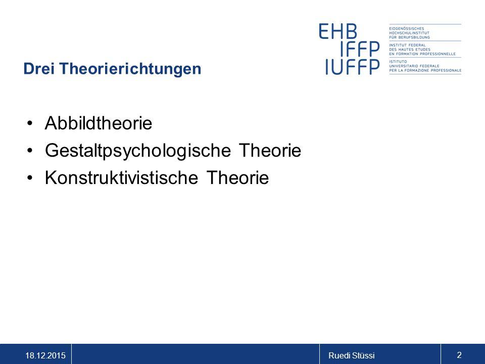 18.12.2015Ruedi Stüssi 2 Drei Theorierichtungen Abbildtheorie Gestaltpsychologische Theorie Konstruktivistische Theorie
