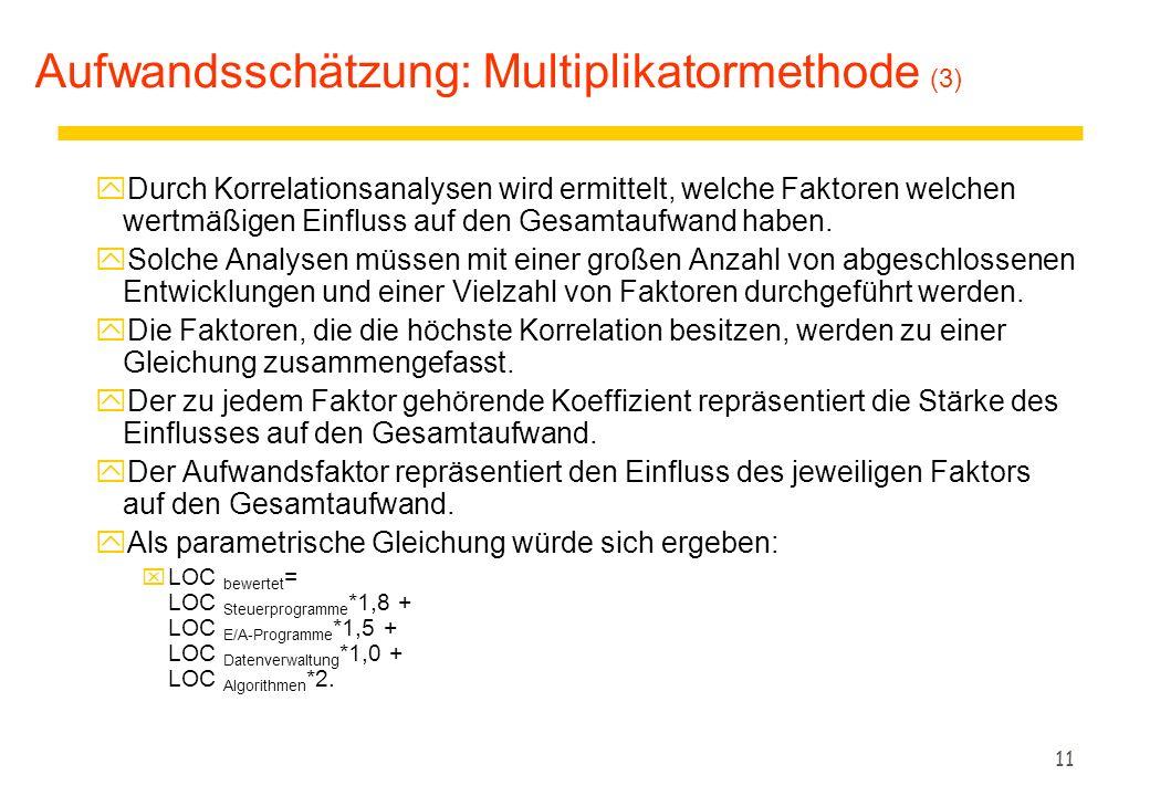 11 Aufwandsschätzung: Multiplikatormethode (3) yDurch Korrelationsanalysen wird ermittelt, welche Faktoren welchen wertmäßigen Einfluss auf den Gesamt
