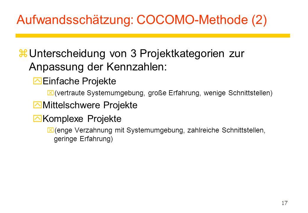 17 Aufwandsschätzung: COCOMO-Methode (2) zUnterscheidung von 3 Projektkategorien zur Anpassung der Kennzahlen: yEinfache Projekte x(vertraute Systemum