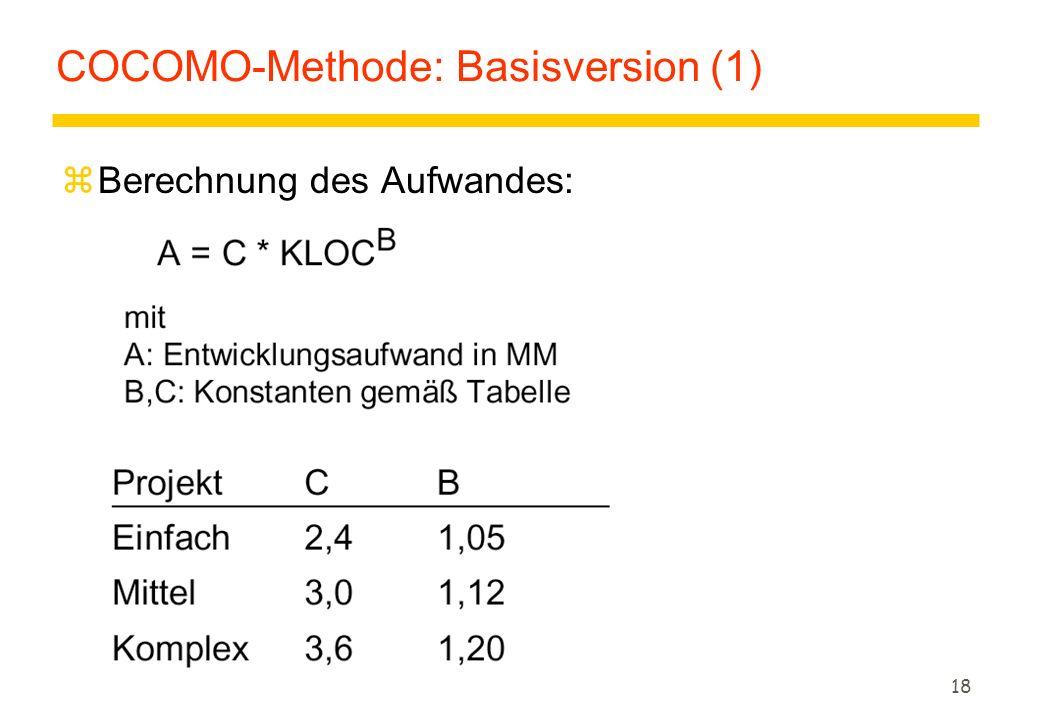 18 COCOMO-Methode: Basisversion (1) zBerechnung des Aufwandes: