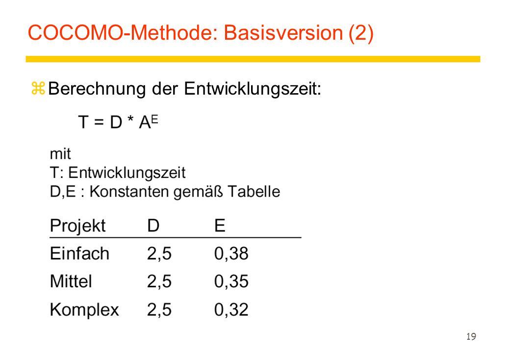 19 COCOMO-Methode: Basisversion (2) zBerechnung der Entwicklungszeit: