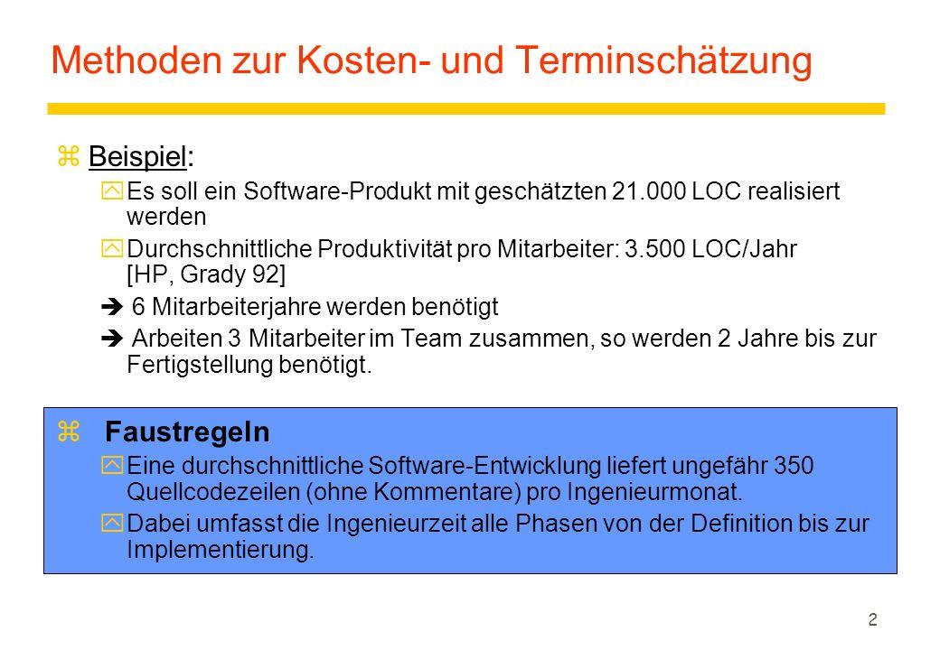 2 Methoden zur Kosten- und Terminschätzung zBeispiel: yEs soll ein Software-Produkt mit geschätzten 21.000 LOC realisiert werden yDurchschnittliche Produktivität pro Mitarbeiter: 3.500 LOC/Jahr [HP, Grady 92]  6 Mitarbeiterjahre werden benötigt  Arbeiten 3 Mitarbeiter im Team zusammen, so werden 2 Jahre bis zur Fertigstellung benötigt.