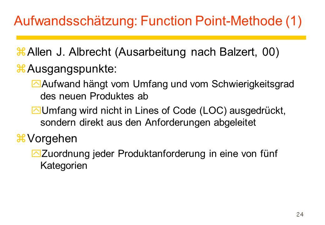 24 Aufwandsschätzung: Function Point-Methode (1) zAllen J. Albrecht (Ausarbeitung nach Balzert, 00) zAusgangspunkte: yAufwand hängt vom Umfang und vom