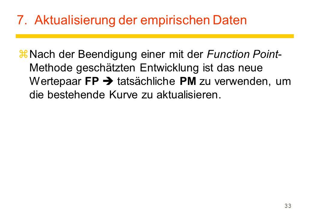 33 7. Aktualisierung der empirischen Daten zNach der Beendigung einer mit der Function Point- Methode geschätzten Entwicklung ist das neue Wertepaar F