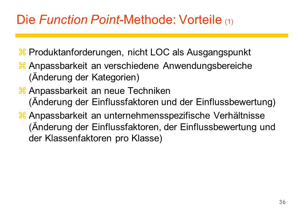 36 Die Function Point-Methode: Vorteile (1) zProduktanforderungen, nicht LOC als Ausgangspunkt zAnpassbarkeit an verschiedene Anwendungsbereiche (Ände