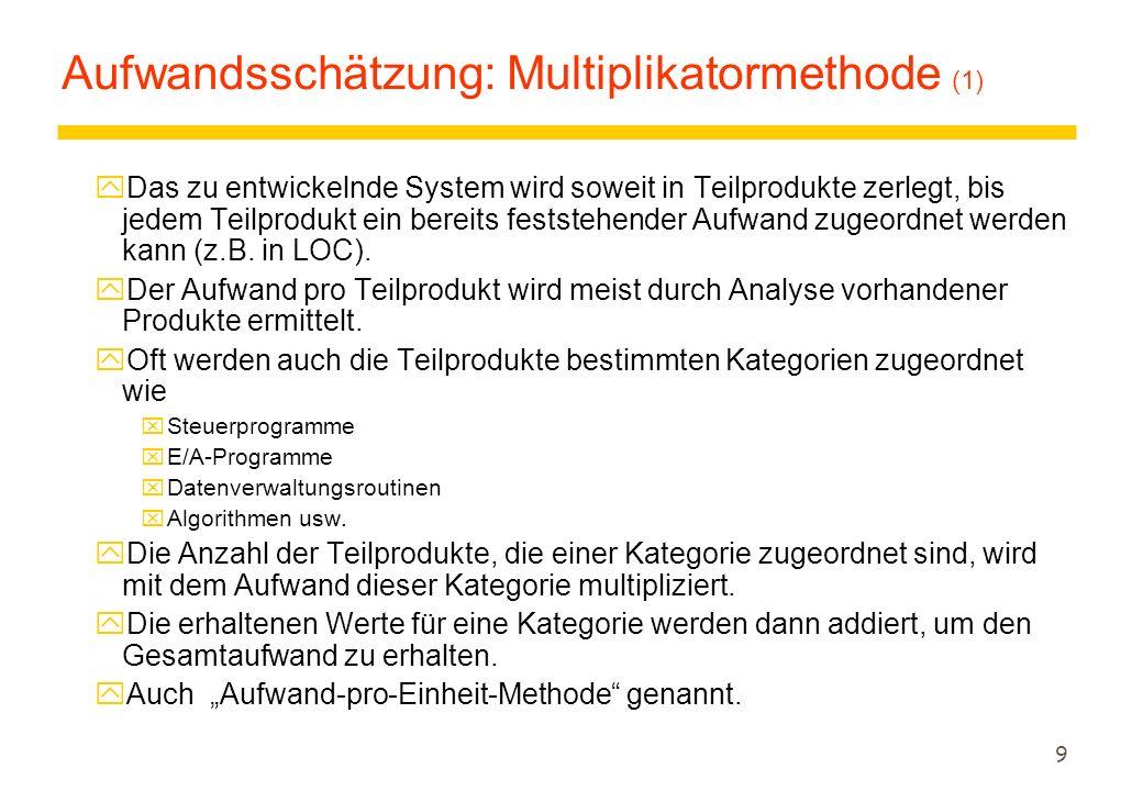 9 Aufwandsschätzung: Multiplikatormethode (1) yDas zu entwickelnde System wird soweit in Teilprodukte zerlegt, bis jedem Teilprodukt ein bereits feststehender Aufwand zugeordnet werden kann (z.B.