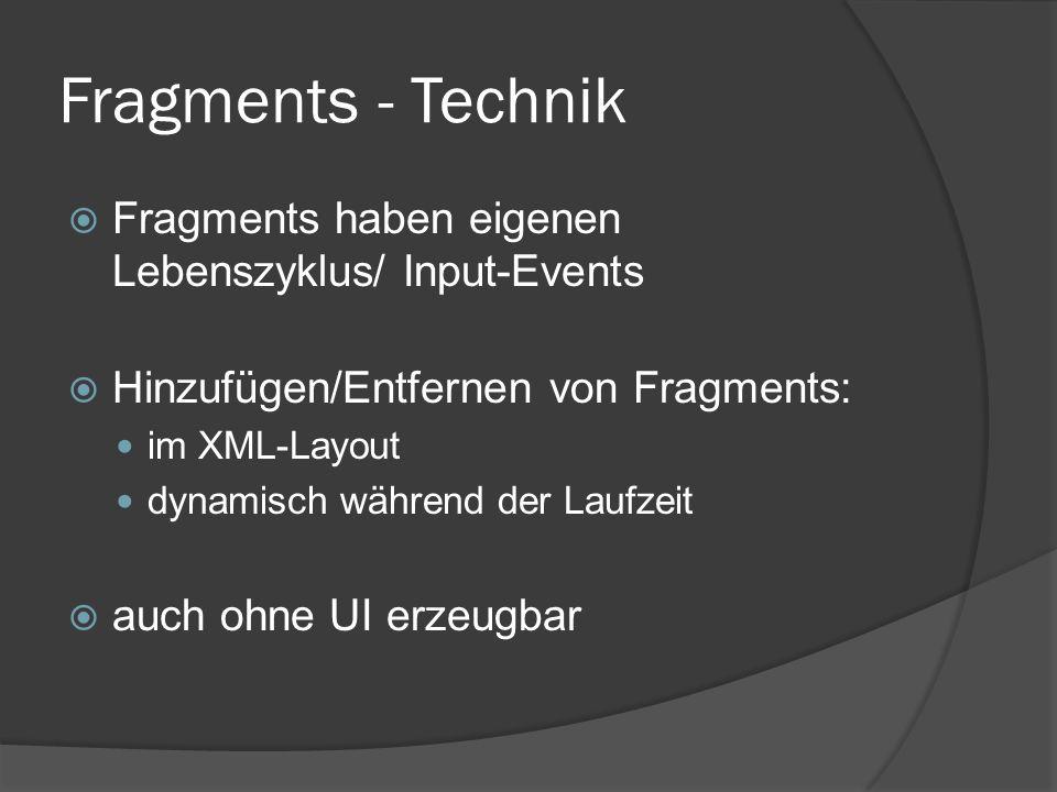 Fragments - Technik  Fragments haben eigenen Lebenszyklus/ Input-Events  Hinzufügen/Entfernen von Fragments: im XML-Layout dynamisch während der Laufzeit  auch ohne UI erzeugbar