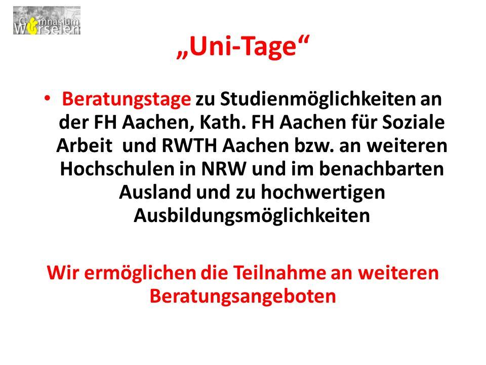"""""""Uni-Tage Beratungstage zu Studienmöglichkeiten an der FH Aachen, Kath."""