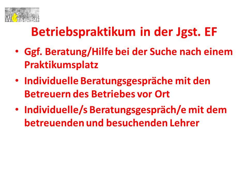 Betriebspraktikum in der Jgst.EF Ggf.