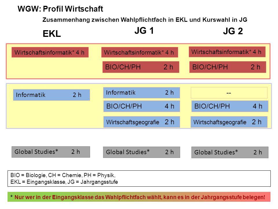 EKL JG 1 JG 2 Wirtschaftsinformatik* 4 h BIO/CH/PH2 h Informatik2 h -- Informatik2 h BIO/CH/PH4 h BIO = Biologie, CH = Chemie, PH = Physik, EKL = Eingangsklasse, JG = Jahrgangsstufe Wirtschaftsgeografie 2 h * Nur wer in der Eingangsklasse das Wahlpflichtfach wählt, kann es in der Jahrgangsstufe belegen.