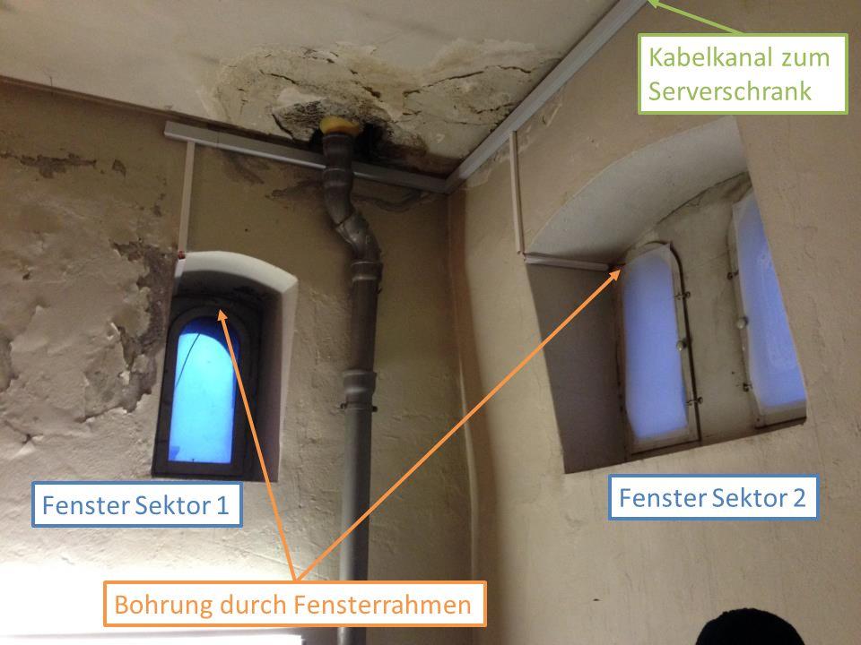 Fenster Sektor 1 Kabelkanal zum Serverschrank Bohrung durch Fensterrahmen Fenster Sektor 2