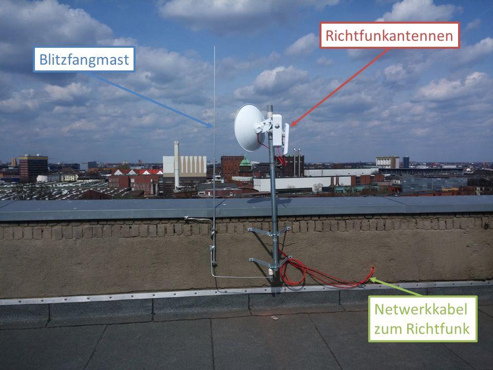 Netwerkkabel zum Richtfunk Richtfunkantennen Blitzfangmast