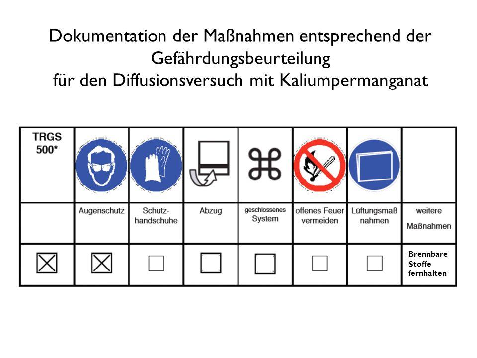 Dokumentation der Maßnahmen entsprechend der Gefährdungsbeurteilung für den Diffusionsversuch mit Kaliumpermanganat Brennbare Stoffe fernhalten