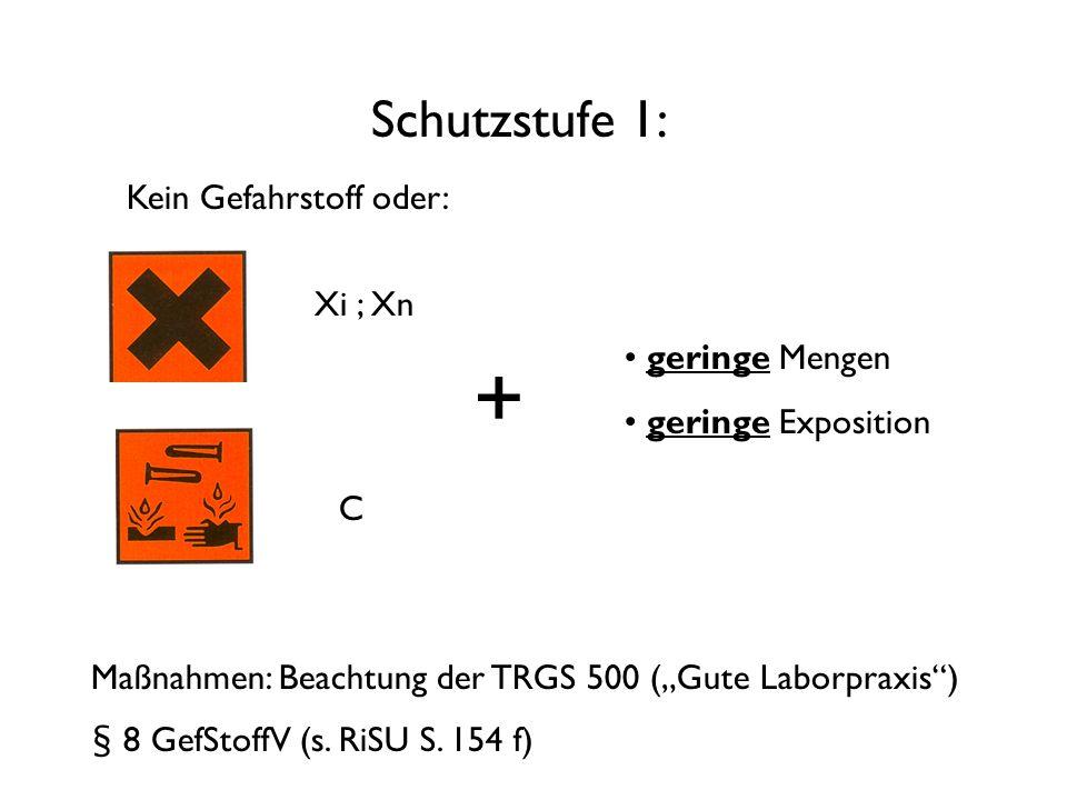 "Schutzstufe 1: Xi ; Xn C + geringe Mengen geringe Exposition Maßnahmen: Beachtung der TRGS 500 (""Gute Laborpraxis ) § 8 GefStoffV (s."