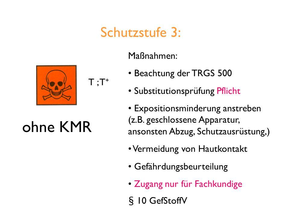 Schutzstufe 3: T ; T + ohne KMR Maßnahmen: Beachtung der TRGS 500 Substitutionsprüfung Pflicht Expositionsminderung anstreben (z.B.