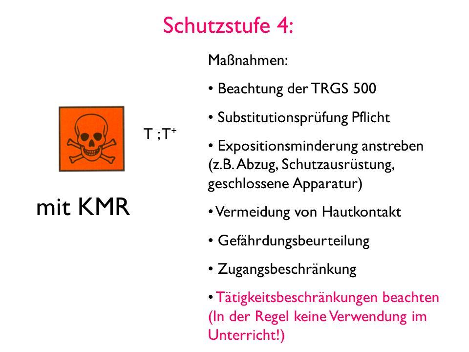 Schutzstufe 4: T ; T + mit KMR Maßnahmen: Beachtung der TRGS 500 Substitutionsprüfung Pflicht Expositionsminderung anstreben (z.B.