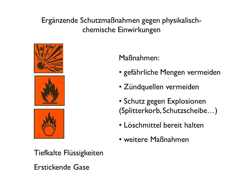 Ergänzende Schutzmaßnahmen gegen physikalisch- chemische Einwirkungen Tiefkalte Flüssigkeiten Erstickende Gase Maßnahmen: gefährliche Mengen vermeiden Zündquellen vermeiden Schutz gegen Explosionen (Splitterkorb, Schutzscheibe…) Löschmittel bereit halten weitere Maßnahmen