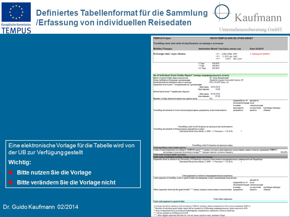Dr. Guido Kaufmann 02/2014 11 Definiertes Tabellenformat für die Sammlung /Erfassung von individuellen Reisedaten Eine elektronische Vorlage für die T