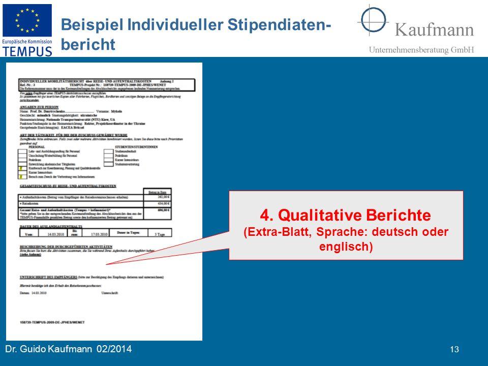 Dr. Guido Kaufmann 02/2014 13 Beispiel Individueller Stipendiaten- bericht 4. Qualitative Berichte (Extra-Blatt, Sprache: deutsch oder englisch)