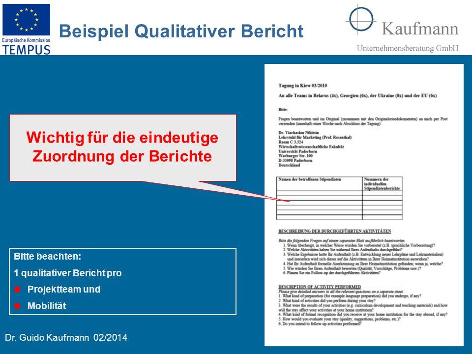 Dr. Guido Kaufmann 02/2014 15 Beispiel Qualitativer Bericht Bitte beachten: 1 qualitativer Bericht pro Projektteam und Mobilität Wichtig für die einde