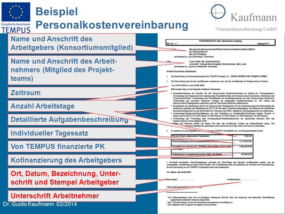 Dr. Guido Kaufmann 02/2014 20 Beispiel Personalkostenvereinbarung Name und Anschrift des Arbeitgebers (Konsortiumsmitglied) Name und Anschrift des Arb