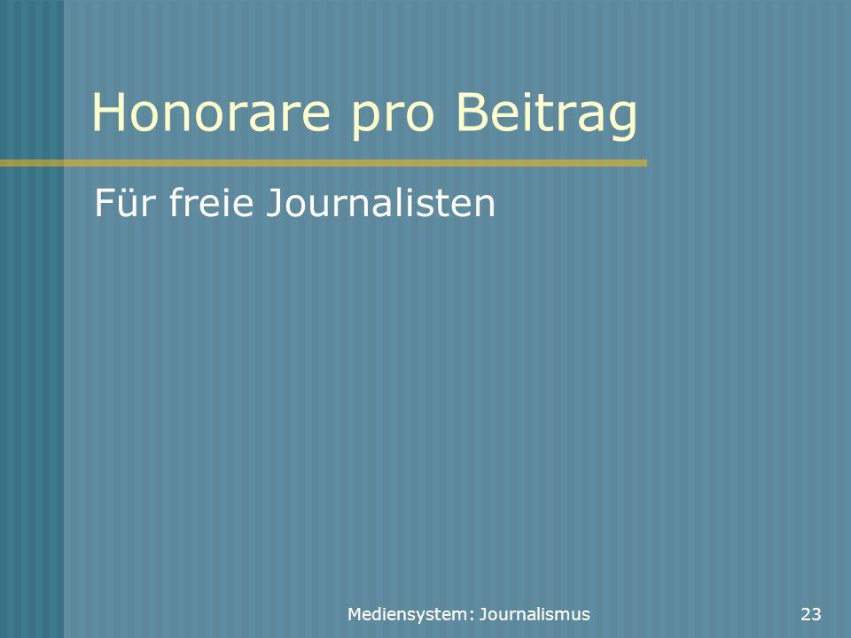 Mediensystem: Journalismus23 Honorare pro Beitrag Für freie Journalisten
