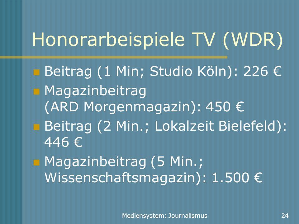 Mediensystem: Journalismus24 Honorarbeispiele TV (WDR) Beitrag (1 Min; Studio Köln): 226 € Magazinbeitrag (ARD Morgenmagazin): 450 € Beitrag (2 Min.;
