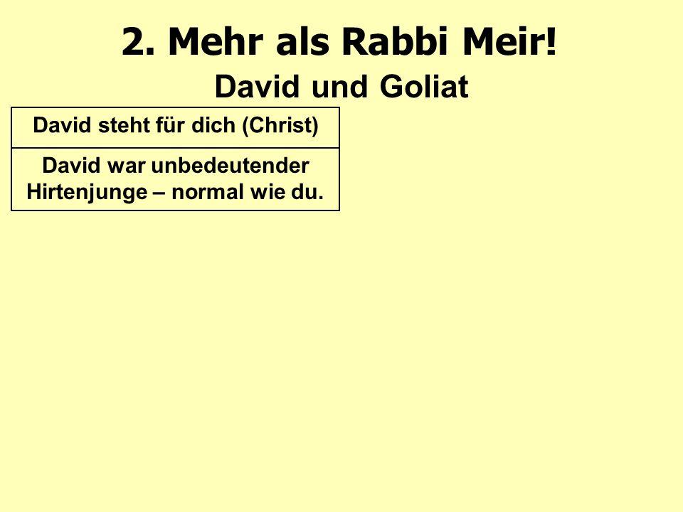 2. Mehr als Rabbi Meir! David und Goliat David steht für dich (Christ) David war unbedeutender Hirtenjunge – normal wie du.