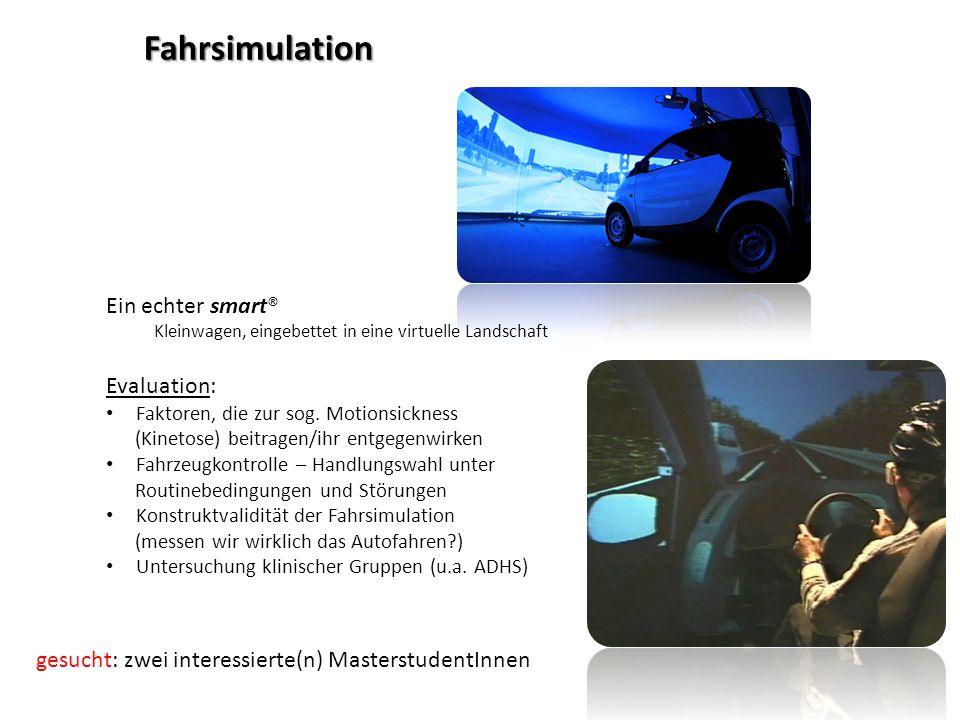 Ein echter smart® Kleinwagen, eingebettet in eine virtuelle Landschaft Evaluation: Faktoren, die zur sog.