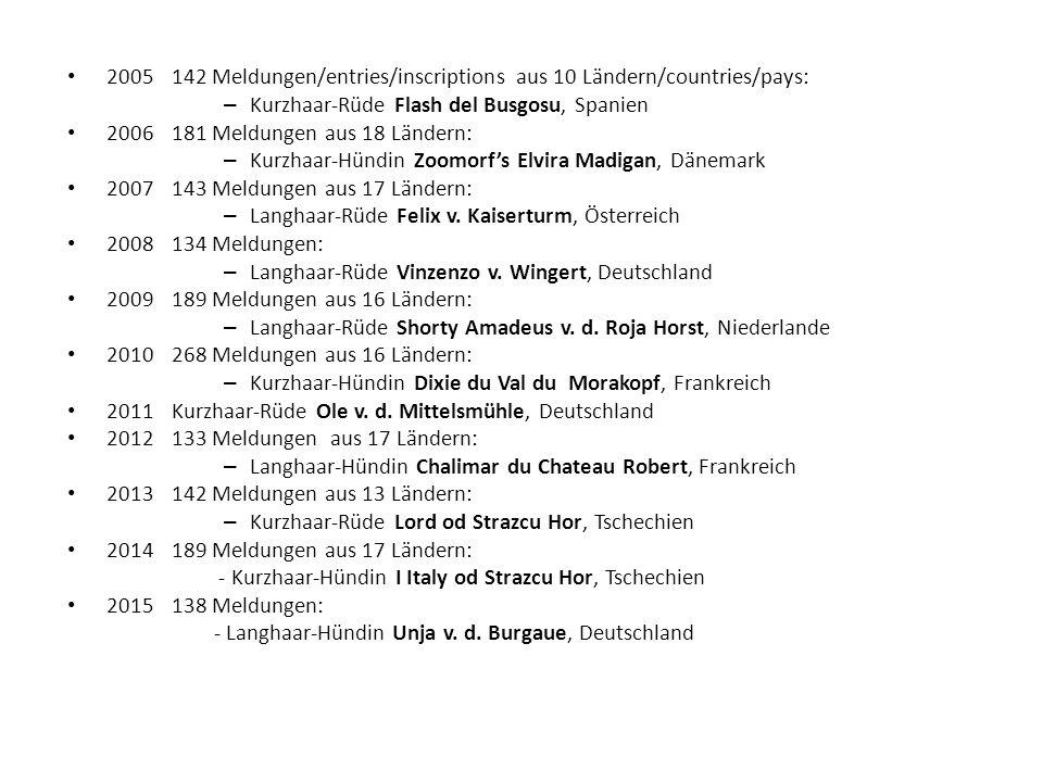 2005 142 Meldungen/entries/inscriptions aus 10 Ländern/countries/pays: – Kurzhaar-Rüde Flash del Busgosu, Spanien 2006181 Meldungen aus 18 Ländern: – Kurzhaar-Hündin Zoomorf's Elvira Madigan, Dänemark 2007143 Meldungen aus 17 Ländern: – Langhaar-Rüde Felix v.