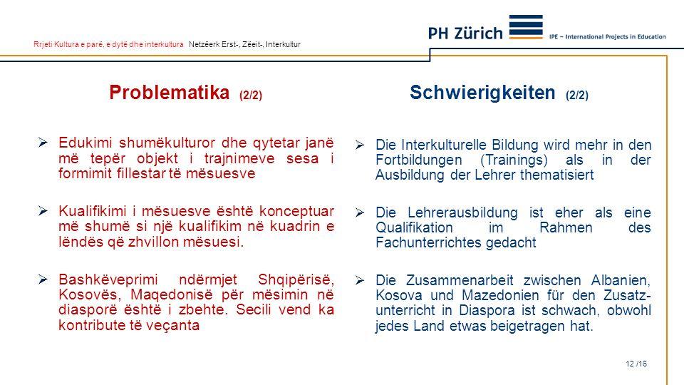 Rrjeti Kultura e parë, e dytë dhe interkultura Netzëerk Erst-, Zëeit-, Interkultur Problematika (2/2)  Edukimi shumëkulturor dhe qytetar janë më tepë
