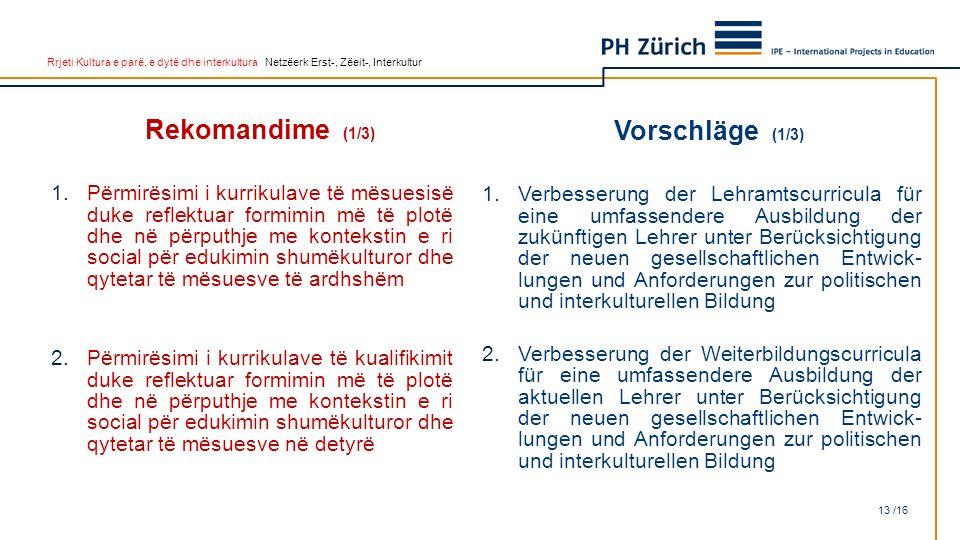 Rrjeti Kultura e parë, e dytë dhe interkultura Netzëerk Erst-, Zëeit-, Interkultur Rekomandime (1/3) 1.Përmirësimi i kurrikulave të mësuesisë duke ref