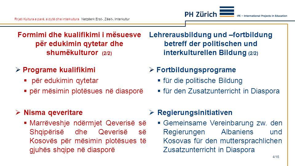 Rrjeti Kultura e parë, e dytë dhe interkultura Netzëerk Erst-, Zëeit-, Interkultur  Programe kualifikimi  për edukimin qytetar  për mësimin plotësu