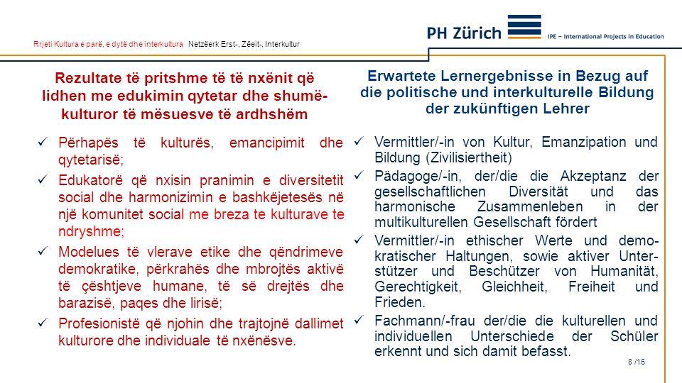 Rrjeti Kultura e parë, e dytë dhe interkultura Netzëerk Erst-, Zëeit-, Interkultur Rezultate të pritshme të të nxënit që lidhen me edukimin qytetar dh