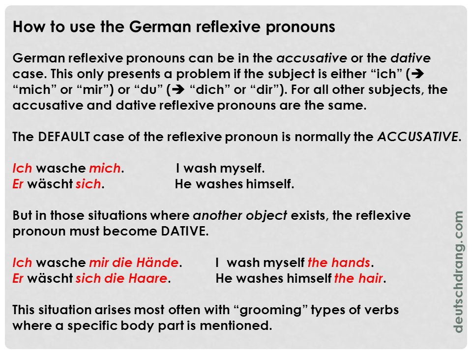 How to use the German reflexive pronouns German reflexive pronouns can be in the accusative or the dative case. This only presents a problem if the su
