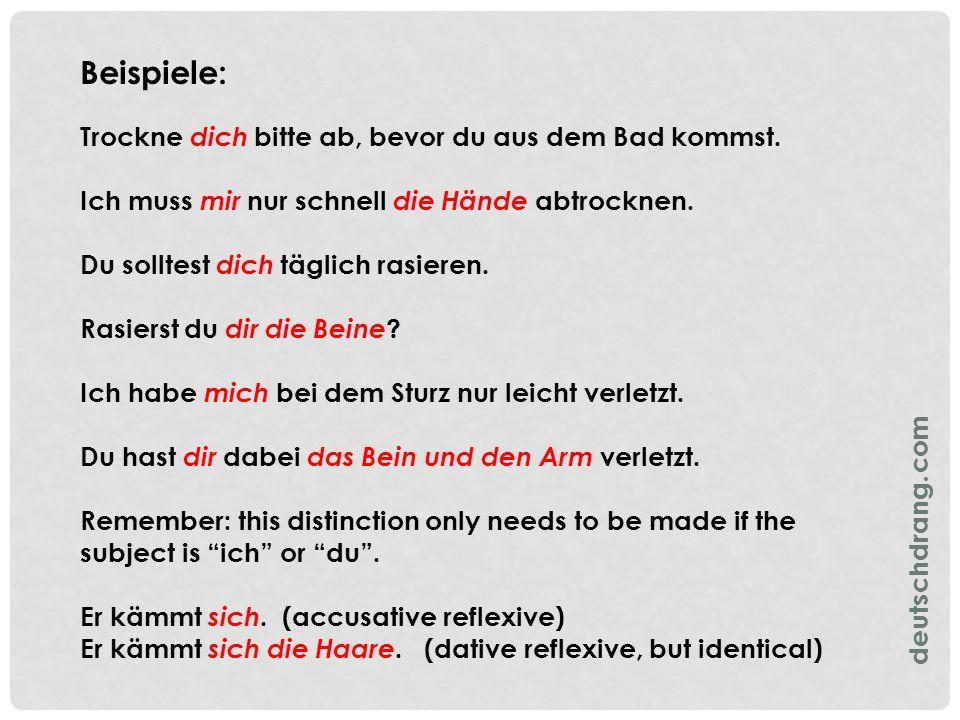 Summary of the German Reflexive Pronouns deutschdrang.com