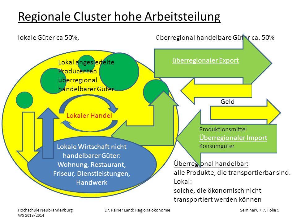 Regionale Cluster hohe Arbeitsteilung lokale Güter ca 50%, überregional handelbare Güter ca. 50% Hochschule Neubrandenburg WS 2013/2014 Dr. Rainer Lan