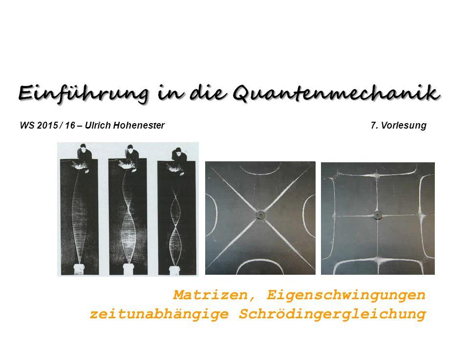 Matrizen, Eigenschwingungen zeitunabhängige Schrödingergleichung WS 2015 / 16 – Ulrich Hohenester 7. Vorlesung