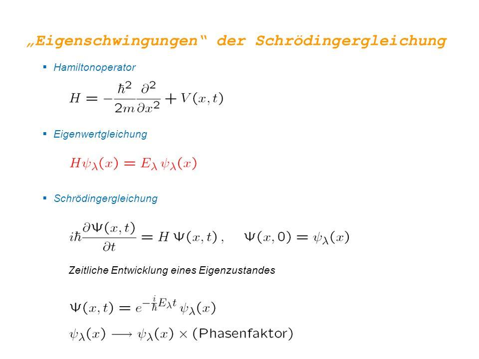""" Hamiltonoperator  Eigenwertgleichung  Schrödingergleichung Zeitliche Entwicklung eines Eigenzustandes """"Eigenschwingungen"""" der Schrödingergleichung"""