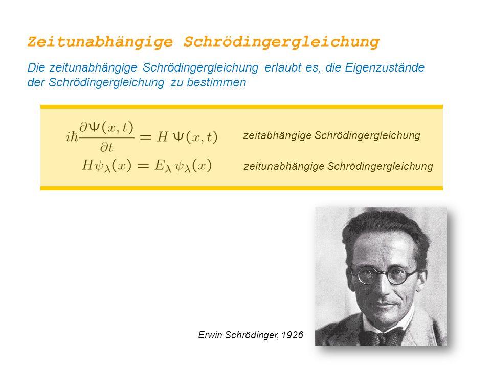 zeitabhängige Schrödingergleichung zeitunabhängige Schrödingergleichung Erwin Schrödinger, 1926 Zeitunabhängige Schrödingergleichung Die zeitunabhängi