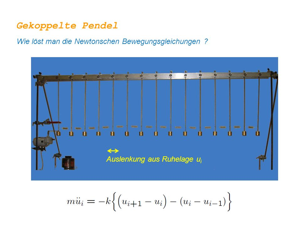 Gekoppelte Pendel Wie löst man die Newtonschen Bewegungsgleichungen ? Auslenkung aus Ruhelage u i