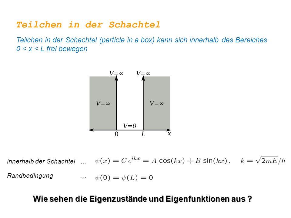 innerhalb der Schachtel … Teilchen in der Schachtel Teilchen in der Schachtel (particle in a box) kann sich innerhalb des Bereiches 0 < x < L frei bew