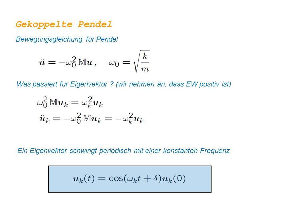 Gekoppelte Pendel Bewegungsgleichung für Pendel Was passiert für Eigenvektor ? (wir nehmen an, dass EW positiv ist) Ein Eigenvektor schwingt periodisc