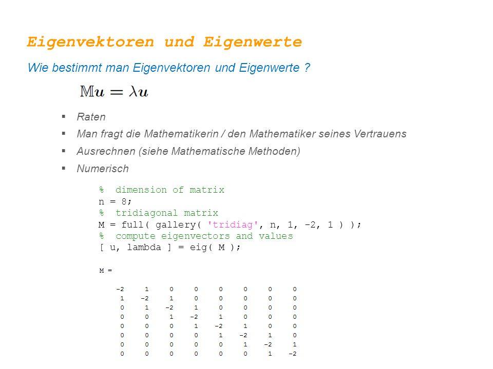 Eigenvektoren und Eigenwerte Wie bestimmt man Eigenvektoren und Eigenwerte ?  Raten  Man fragt die Mathematikerin / den Mathematiker seines Vertraue