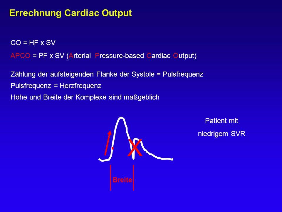 Errechnung Cardiac Output Zählung der aufsteigenden Flanke der Systole = Pulsfrequenz Pulsfrequenz = Herzfrequenz Höhe und Breite der Komplexe sind ma