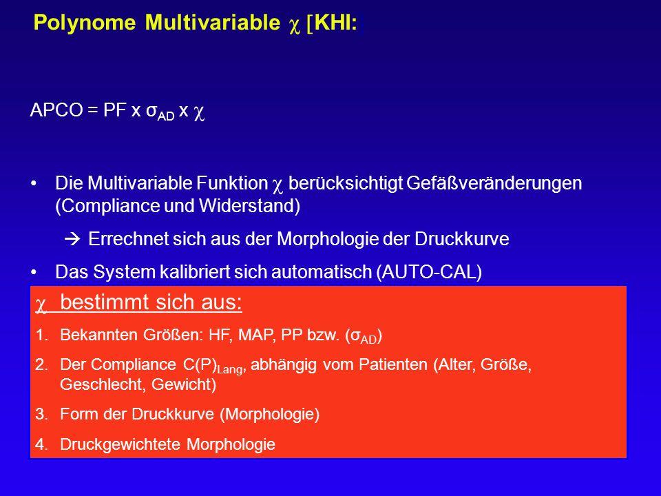Polynome Multivariable  KHI:  APCO = PF x σ AD x  Die Multivariable Funktion  berücksichtigt Gefäßveränderungen (Compliance und Widerstand)  Er